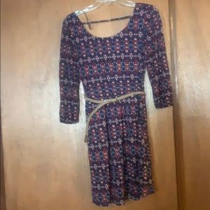 Multi color Res Camel casual dress with pockets
